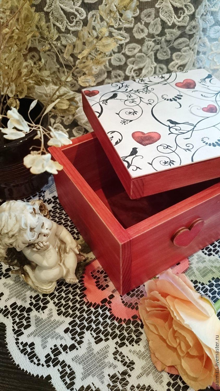 Шкатулка квадратная Валентинка с подарком. Подарок на 14 февраля, Шкатулки, Мытищи,  Фото №1