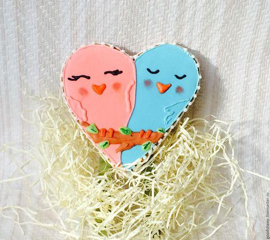 пряник сердце птички неразлучники подарок влюбленным