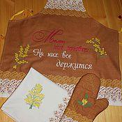 Фартуки ручной работы. Ярмарка Мастеров - ручная работа Фартук,полотенце, варежка-прихватка Подарок маме. Handmade.