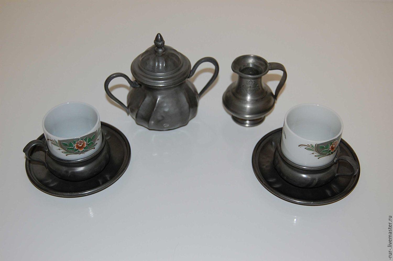 Винтаж: Набор на двоих для эспрессо, олово, фарфор, Винтажная посуда, Эссен, Фото №1