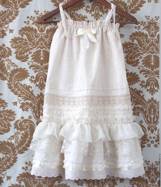Одежда для девочек, ручной работы. Ярмарка Мастеров - ручная работа. Купить Сарафан летний детский в стиле бохо. Handmade. Бежевый