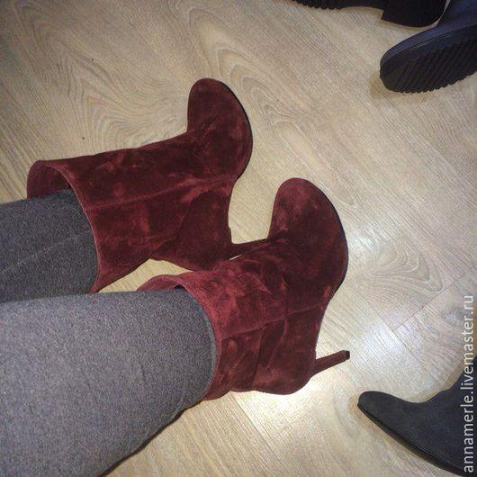 Обувь ручной работы. Ярмарка Мастеров - ручная работа. Купить Ботильоны зимние, на овчине, бордо замш,9,5 см. Handmade.