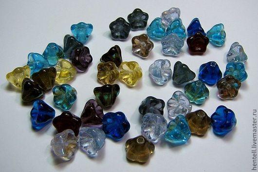 Бусины Колокольчики, 6х8 мм, crystal mix I  (10 шт.)