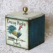 """Подарки к праздникам ручной работы. Ярмарка Мастеров - ручная работа Короб """"Петух"""" синий, винтаж (для хранения соли, специй,чая). Handmade."""