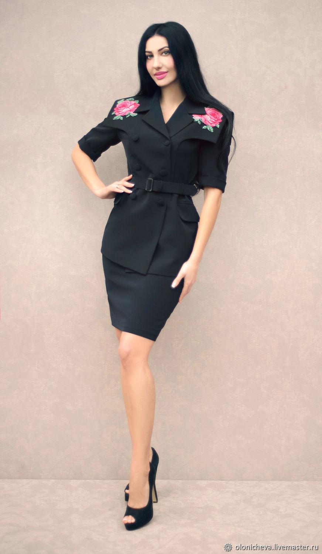 """Чёрный костюм с вышивкой крестом """"Алая роза"""" вышитый костюм, Suits, Vinnitsa,  Фото №1"""