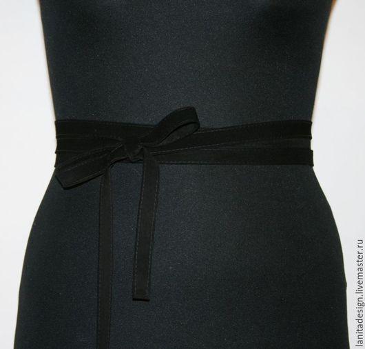 Пояса, ремни ручной работы. Пояс-лента из замши `Black`. Lanita Design. Ярмарка Мастеров.