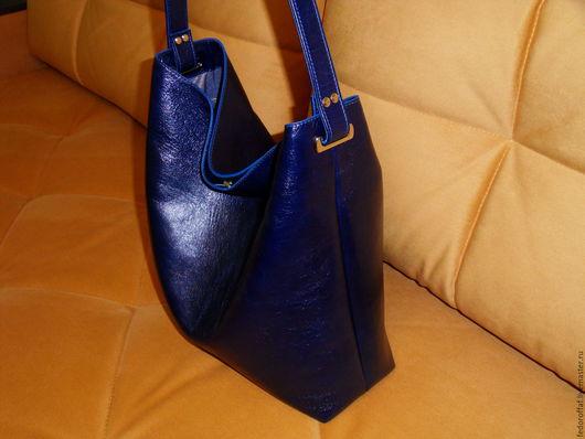 """Женские сумки ручной работы. Ярмарка Мастеров - ручная работа. Купить Сумка-мешок большая """"Синяя"""". Handmade. Тёмно-синий"""