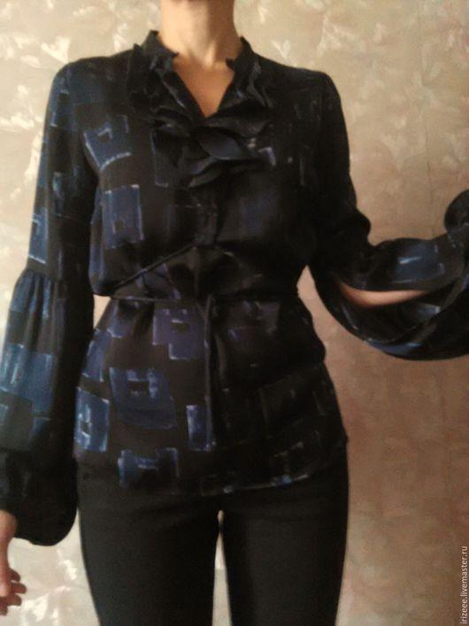 """Блузки ручной работы. Ярмарка Мастеров - ручная работа. Купить Блузка шелк """"Стефания"""". Handmade. Тёмно-синий, офисная блузка"""