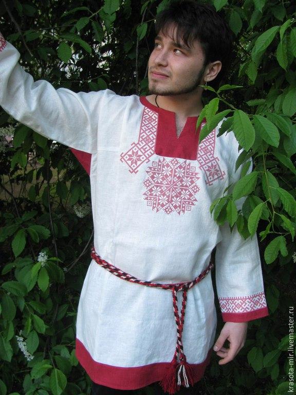 Рубаха льняная Крест Сварога, Народные рубахи, Санкт-Петербург, Фото №1