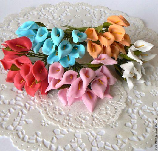 Открытки и скрапбукинг ручной работы. Ярмарка Мастеров - ручная работа. Купить Цветок кала из полимера. Handmade. Разноцветный, скрап