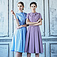 Платья ручной работы. Ярмарка Мастеров - ручная работа. Купить платье в клетку. Handmade. Голубой, фиолетовый, бантик, платье