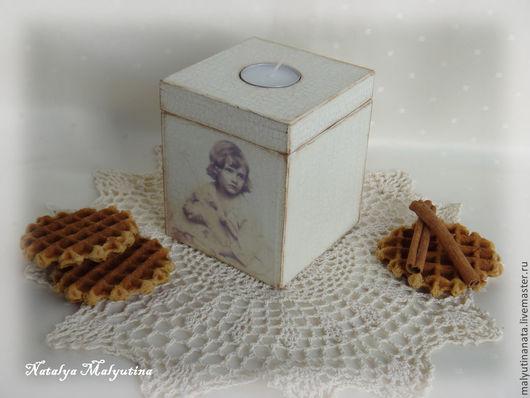 """Подсвечники ручной работы. Ярмарка Мастеров - ручная работа. Купить Подсвечник-коробок """"Юная пастушка"""". Handmade. Белый, к любому празднику"""