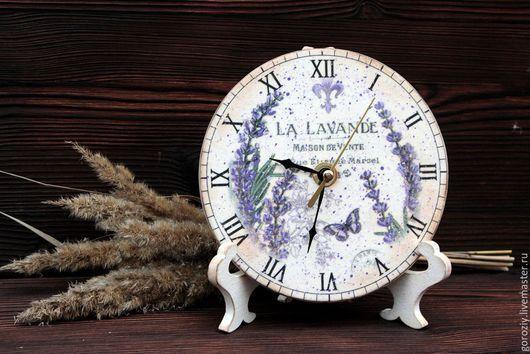 """Часы для дома ручной работы. Ярмарка Мастеров - ручная работа. Купить Часы """"Лаванда"""". Handmade. Белый, лавандовый цвет"""