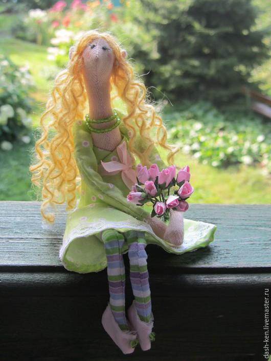 Куклы Тильды ручной работы. Ярмарка Мастеров - ручная работа. Купить Сонечка. Handmade. Салатовый, розы, бумажные цветы