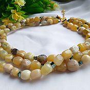 Украшения handmade. Livemaster - original item Three-row necklace with yellow opals.. Handmade.
