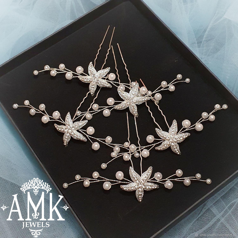 Starfish hair accessories, starfish wedding pin, Украшения в прическу, Раменское,  Фото №1