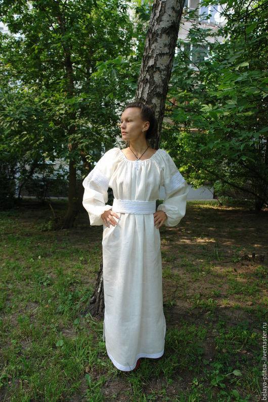 Платья ручной работы. Ярмарка Мастеров - ручная работа. Купить Женское  платье в русском стиле. Handmade. Белый, льняные изделия