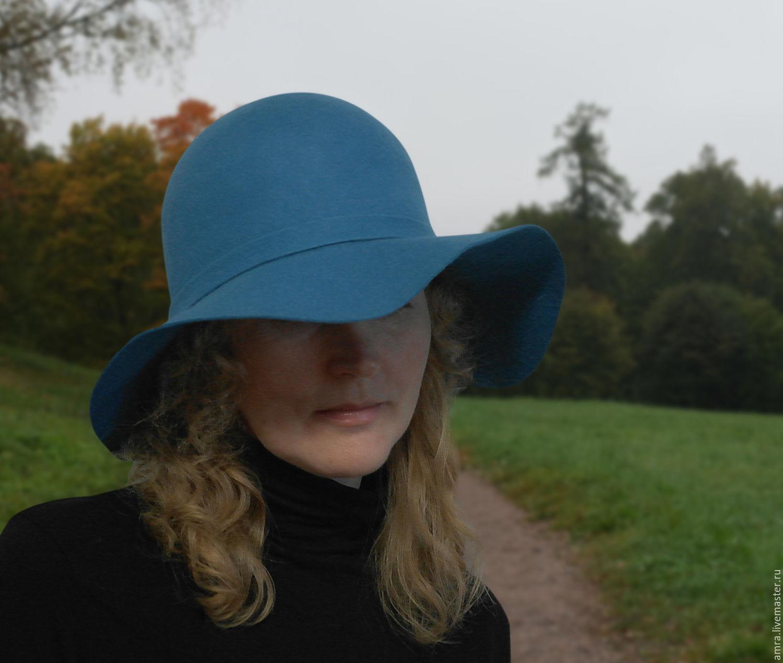 Топы ручной работы. Ярмарка Мастеров - ручная работа. Купить Бирюзовая шляпа. Handmade. Бирюзовый, шляпа с широкими полями