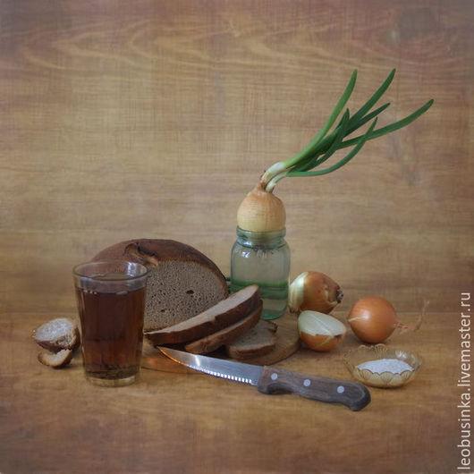 Фотокартины ручной работы. Ярмарка Мастеров - ручная работа. Купить Фотокартина Хлеб, лук, соль... 30х30. Handmade. Коричневый