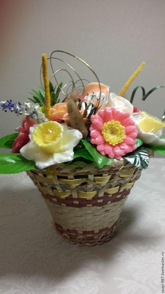 Мыло ручной работы. Ярмарка Мастеров - ручная работа. Купить корзина с цветами из мыла 11 штук. Handmade. Комбинированный