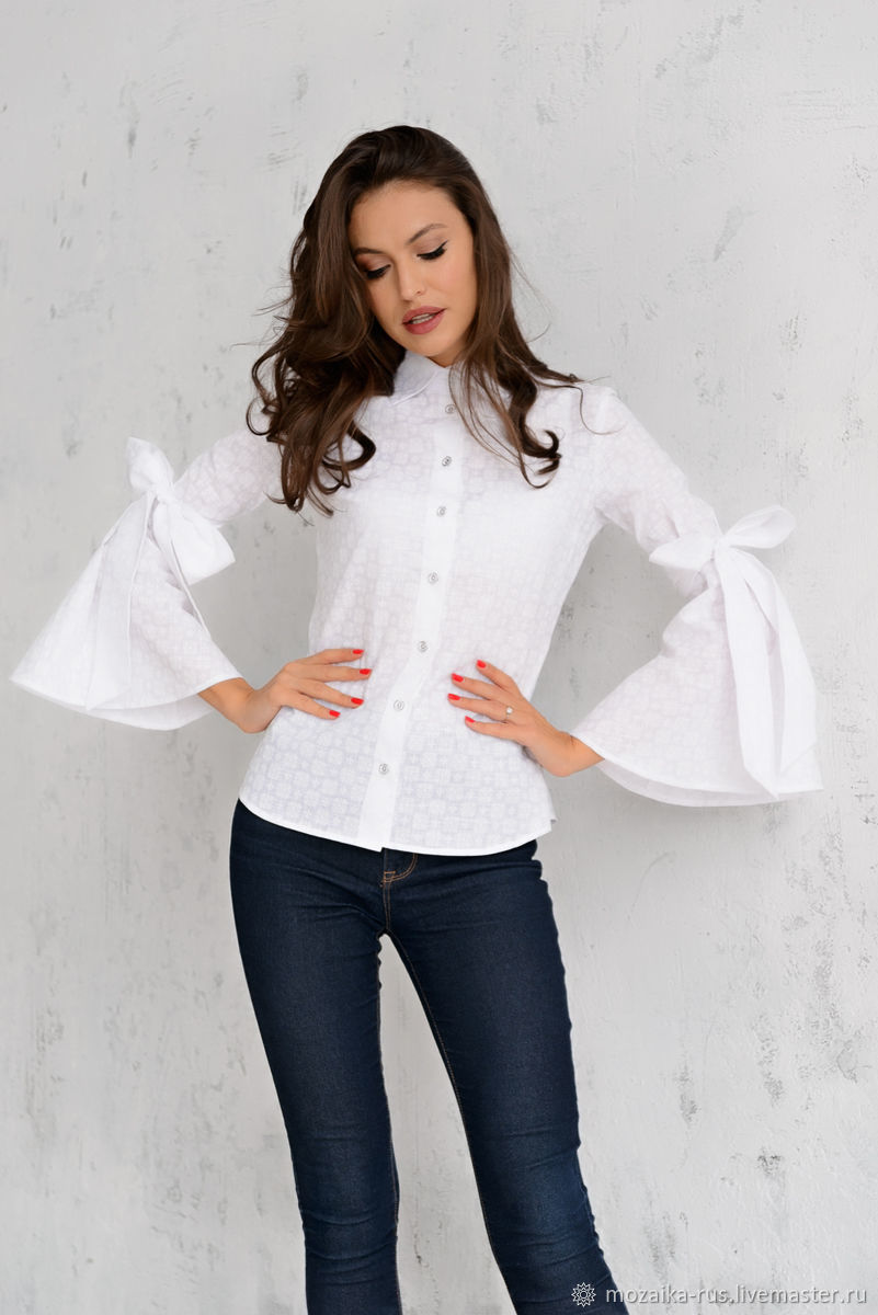 caccdda33a1 Blouses handmade. Blouse of Batiste with bows on the sleeves. mozaika-rus.