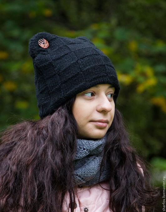 шапка женская, шапки женские, шапка вязаная, шапки вязанные, шапка теплая, шапка шерстяная, шапка с ушками
