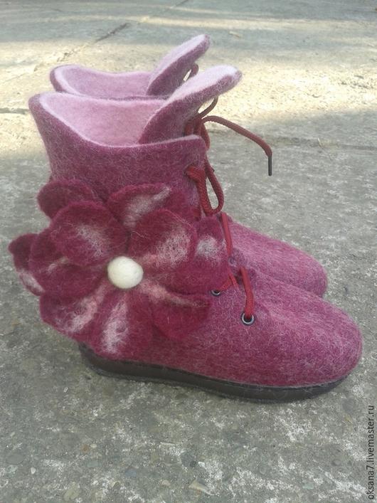 Детская обувь ручной работы. Ярмарка Мастеров - ручная работа. Купить Валяные ботинки. Handmade. Бордовый, обувь ручной работы
