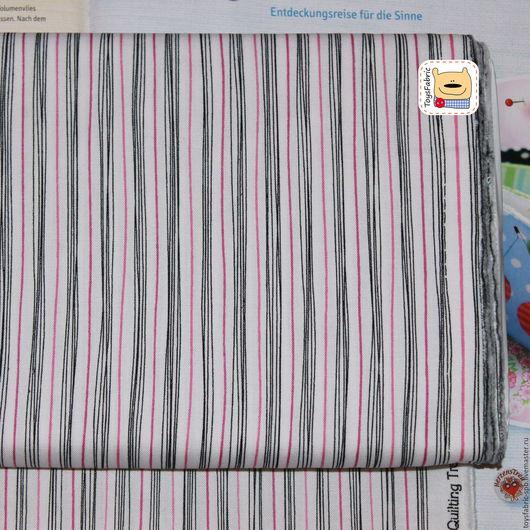 Шитье ручной работы. Ярмарка Мастеров - ручная работа. Купить Ткань американский хлопок для пэчворка Черно-красная полоска (20449). Handmade.