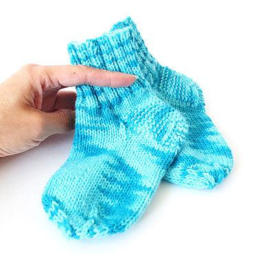 Работы для детей, ручной работы. Ярмарка Мастеров - ручная работа Носочки детские вязаные, теплые носки, голубой, бирюзовый. Handmade.