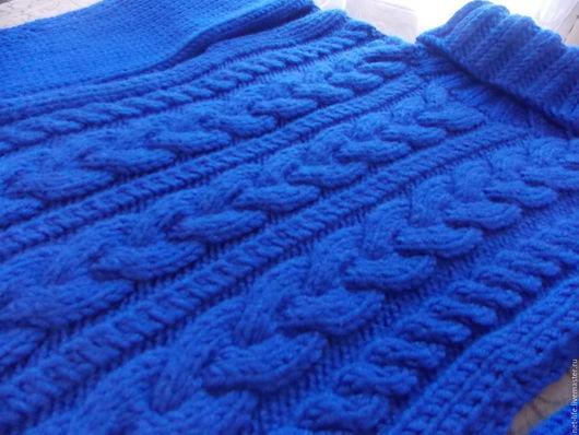 """Кофты и свитера ручной работы. Ярмарка Мастеров - ручная работа. Купить Свитер """"Стильные косы"""" вязаный с косами. Handmade. Синий"""