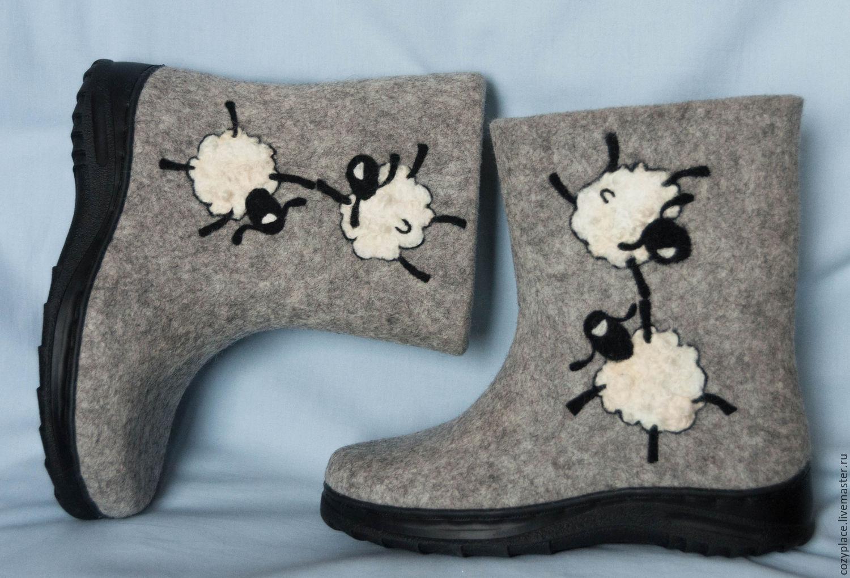 Обувь ручной работы. Ярмарка Мастеров - ручная работа. Купить Валенки на подошве Овцы в отрыве. Handmade. Валенки, валенки с рисунком