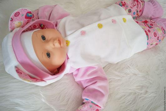 """Одежда ручной работы. Ярмарка Мастеров - ручная работа. Купить Комплект """"Малышка"""". Handmade. Бледно-розовый, велюр"""