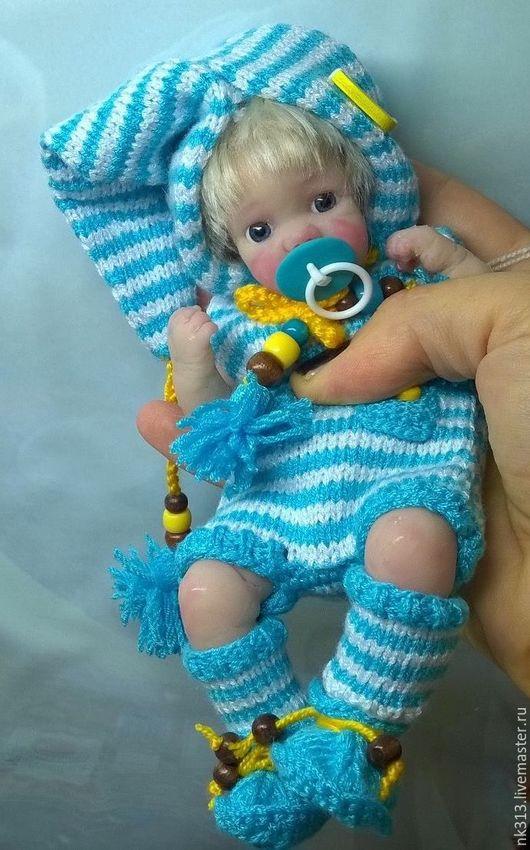"""Одежда для кукол ручной работы. Ярмарка Мастеров - ручная работа. Купить """"Гномик"""" комплект для пупса. Handmade. Голубой, для куклы, пуговки"""