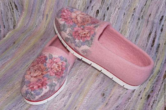 """Обувь ручной работы. Ярмарка Мастеров - ручная работа. Купить Туфли валяные """"Цветы для любимой""""  Русский стиль. Handmade."""