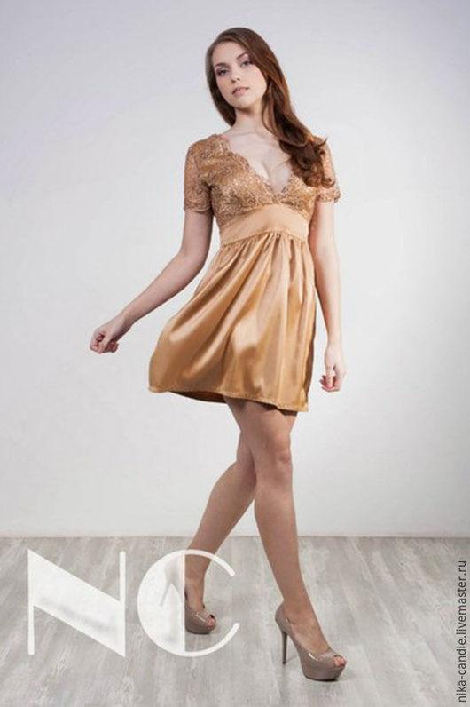Платья ручной работы. Ярмарка Мастеров - ручная работа. Купить Платье глубокого золотого цвета с итальянским кружевом из атласа. Handmade.
