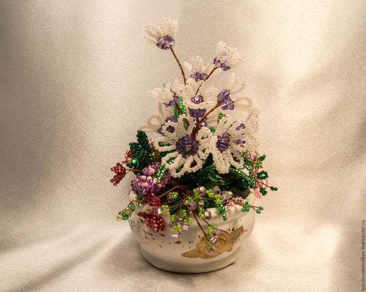 Букеты ручной работы. Ярмарка Мастеров - ручная работа. Купить Цветы из бисера в горшочке. Handmade. Бледно-сиреневый, цветы, проволока