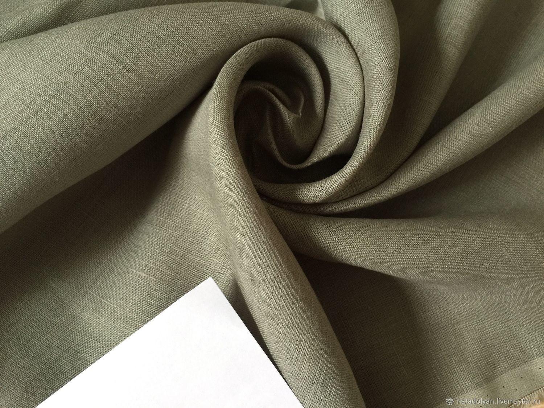 Flax 100% fortieth ' willow, gray-green', Fabric, Ivanovo,  Фото №1