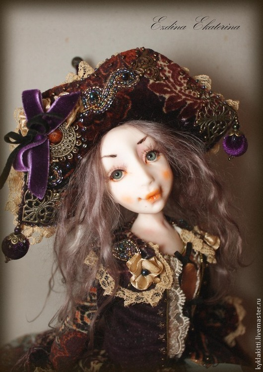 Коллекционные куклы ручной работы. Ярмарка Мастеров - ручная работа. Купить Мишель. Handmade. Интерьерная кукла, бархат