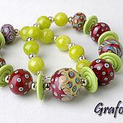Украшения handmade. Livemaster - original item Beads from natural stones Burgundy. Handmade.