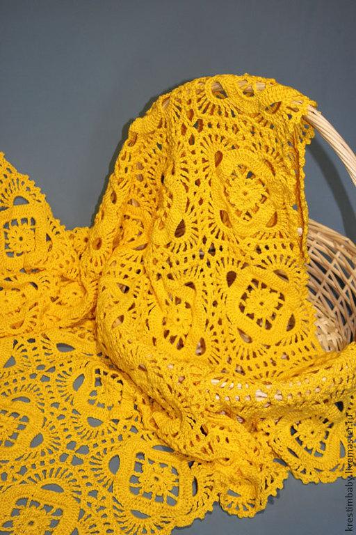 """Пледы и одеяла ручной работы. Ярмарка Мастеров - ручная работа. Купить Плед """"Солнечный"""". Handmade. Желтый, плед крючком"""