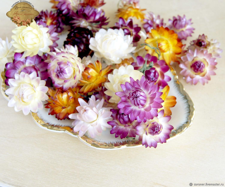 Сухоцветы. Гелихризум сухоцветы микс 20 гр. (70-80 цветочков), Материалы, Железногорск, Фото №1