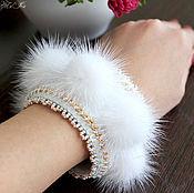 Украшения handmade. Livemaster - original item White bracelet made of mink fur Fluff. Handmade.