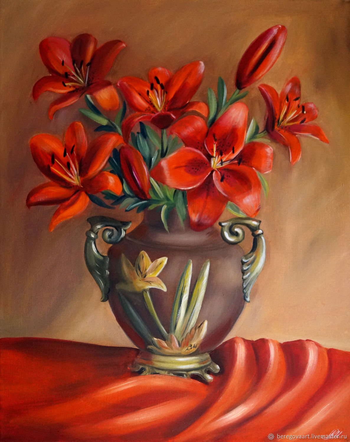 Painting of Lilies in a vase 'Bouquet of red lilies' oil on canvas, Pictures, St. Petersburg,  Фото №1