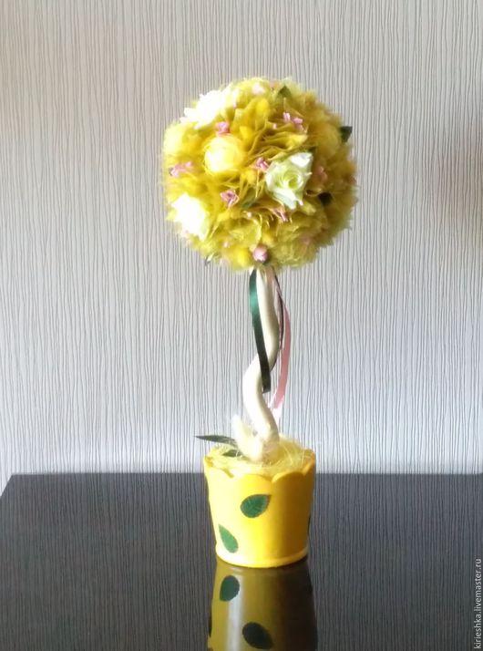 Топиарии ручной работы. Ярмарка Мастеров - ручная работа. Купить Цветочное интерьерное деревце. Handmade. Желтый, Дерево счастья