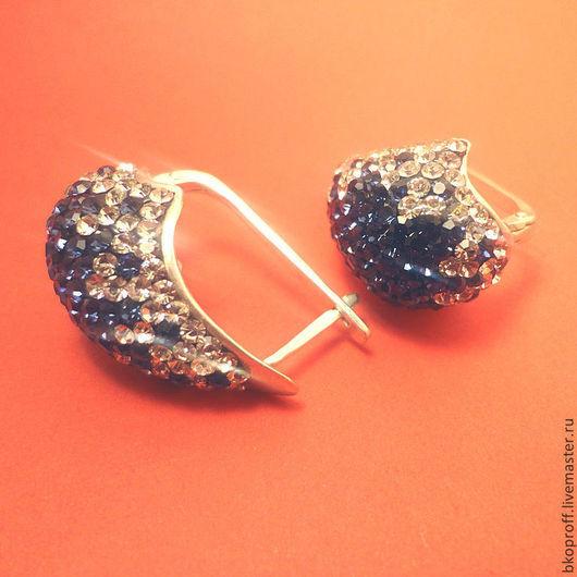 Серьги ручной работы. Ярмарка Мастеров - ручная работа. Купить Серебряные серьги 925 пробы  цирконы синий гламур. Handmade.