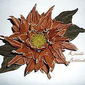 Украшения ручной работы. Ярмарка Мастеров - ручная работа брошь-цветок из кожи. Handmade.