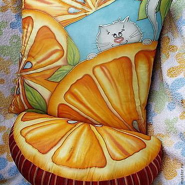 """Для дома и интерьера ручной работы. Ярмарка Мастеров - ручная работа торшер и подушки """"Апельсиновые коты"""". Handmade."""