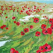 Картины и панно ручной работы. Ярмарка Мастеров - ручная работа Алые маки в степи, вышитая картина, красный, зеленый, лето, пейзаж, юг. Handmade.