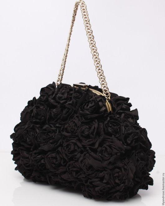 Женские сумки ручной работы. Ярмарка Мастеров - ручная работа. Купить Черный клатч с розами. Клатч черный. Вечерняя сумочка. Handmade.