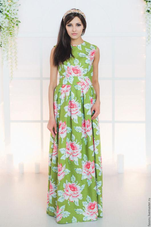 """Платья ручной работы. Ярмарка Мастеров - ручная работа. Купить Платье """"ФАСОН"""" (роза). Handmade. Ярко-зелёный, Платье нарядное"""